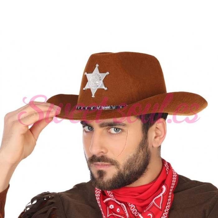 SOMBRERO SHERIFF OESTE MARRON