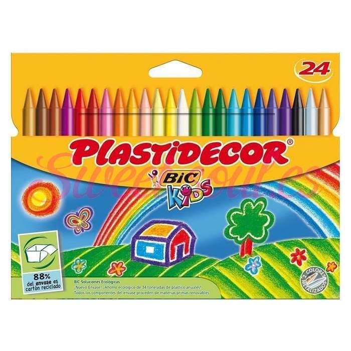 ESTUCHE PINTURAS PLASTIDECOR BIC KIDS, 24 COLORES