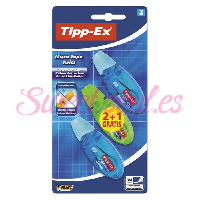 CORRECTOR BIC TIPP-EX CORRECTOR 2+1, 8 METROS