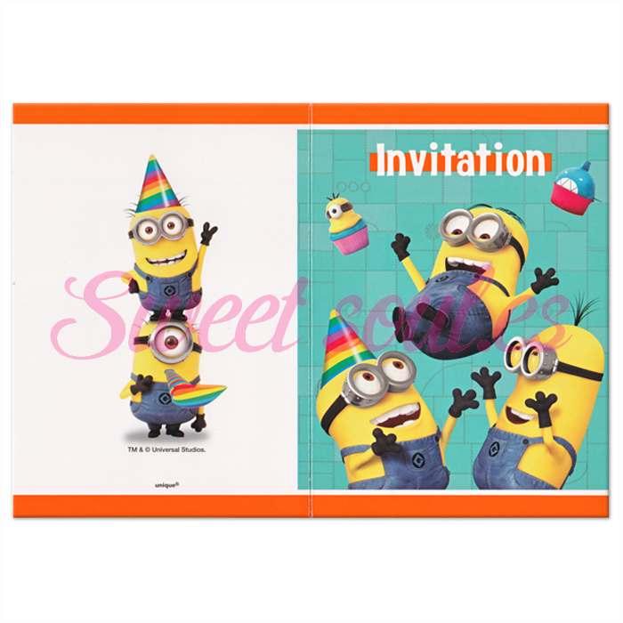 INVITACIONES MINIONS, 8 UNDS