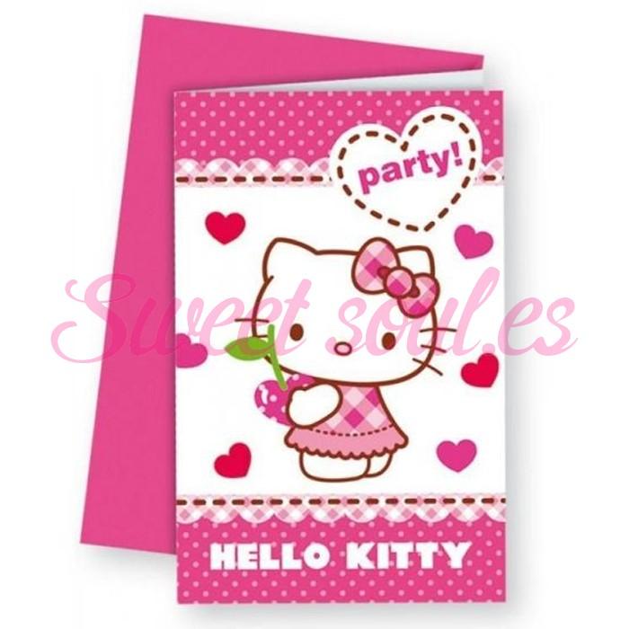 INVITACIONES HELLO KITTY HEARTS 6 UNDS