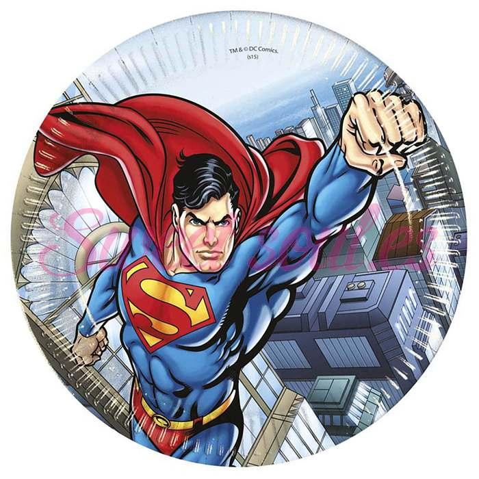 PLATOS PAPEL SUPERMAN 23cm, 8 UNDS