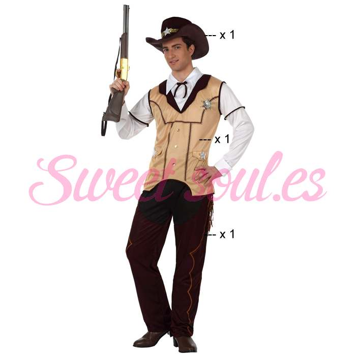 DISFRAZ DE SHERIFF HOMBRE, TALLA 2