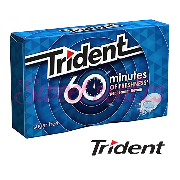 CAJA CHICLES TRIDENT 60 MINUTES SIN AZUCAR, 16UNDS