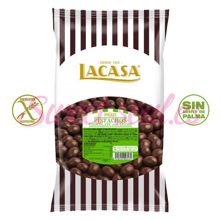 BOLSA DE PISTACHOS CHOCOLATE CON LECHE LACASA, 1kg