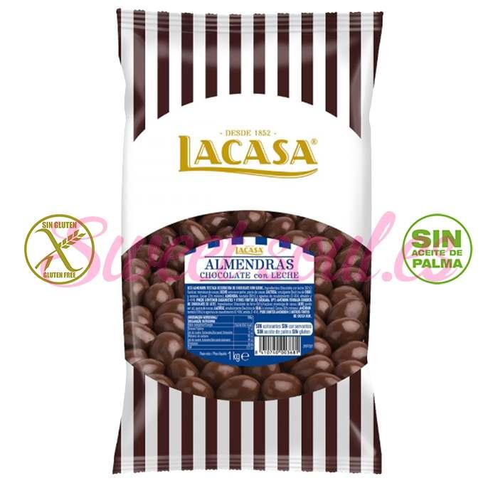 BOLSA DE ALMENDRAS CON CHOCOLATE LECHE LACASA, 1kg