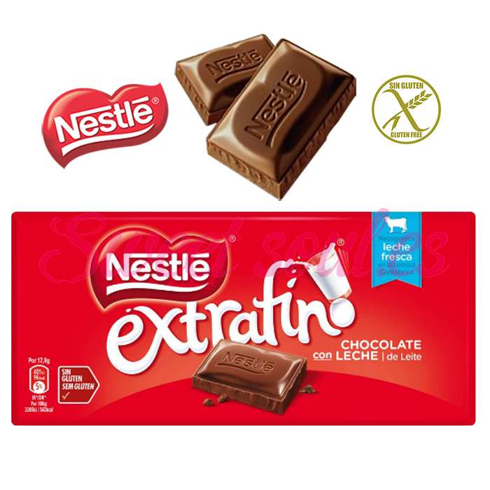 TABLETA CHOCOLATE CON LECHE EXTRAFINO NESTLE, 125g