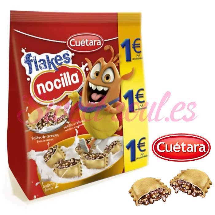 PAQUETE GALLETAS FLAKES NOCILLA CUETARA, 130g