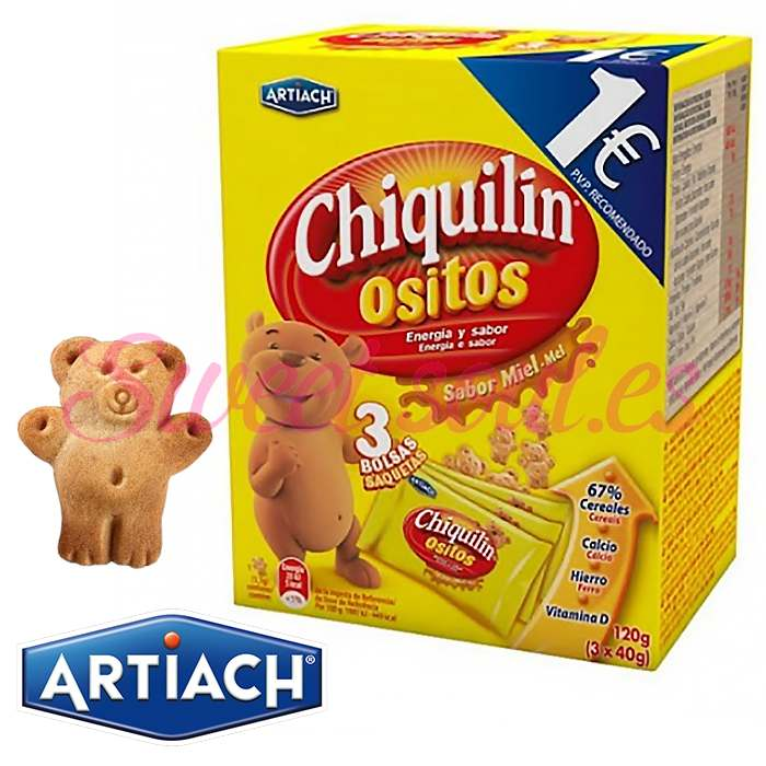 CHIQUILIN OSITOS SABOR MIEL ARTIACH, 3UNDSx40g
