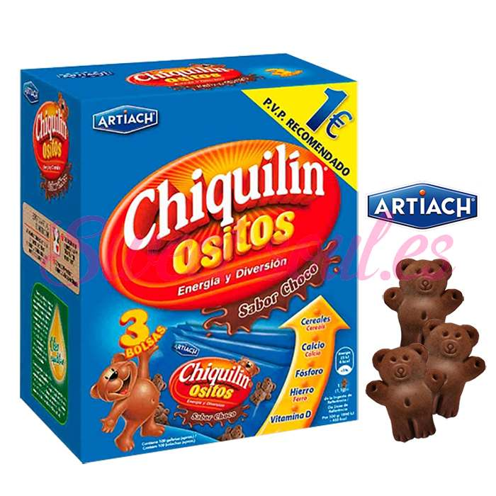 CHIQUILIN OSITOS SABOR CHOCO ARTIACH, 3UNDSx40g