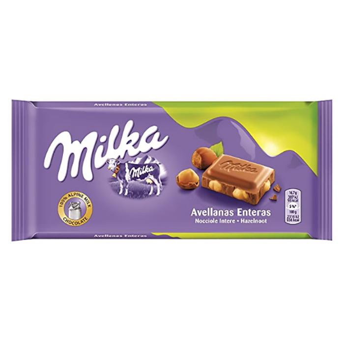TABLETA CHOCOLATE MILKA Y AVELLANAS ENTERAS, 100g