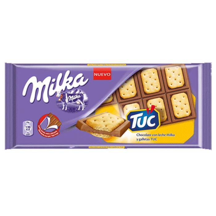 TABLETA CHOCOLATE MILKA Y GALLETAS TUC, 87g