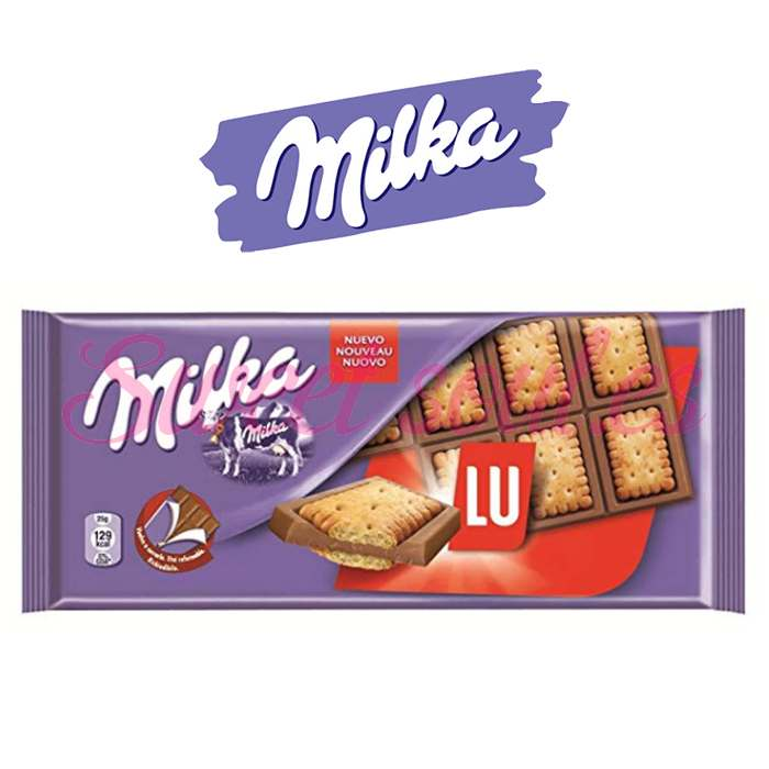 TABLETA CHOCOLATE CON LECHE MILKA LU, 87g