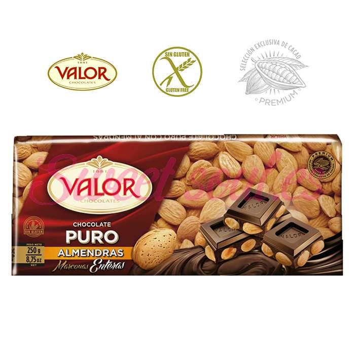 CHOCOLATE VALOR PURO CON ALMENDRAS MARCONAS, 250g