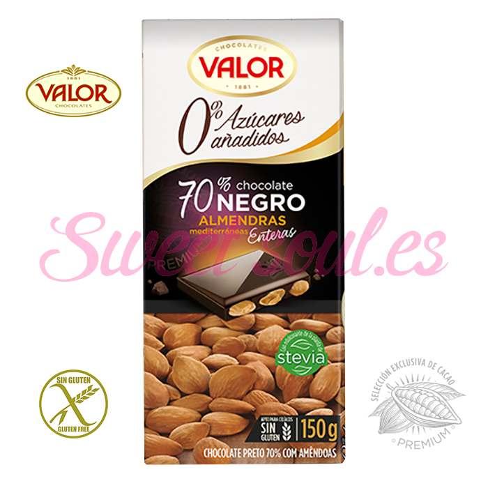 CHOCOLATE VALOR 70% NEGRO CON ALMENDRAS, 150g