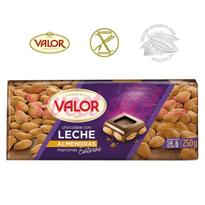 TABLETA CHOCOLATE VALOR CON LECHE Y ALMENDRAS,250g