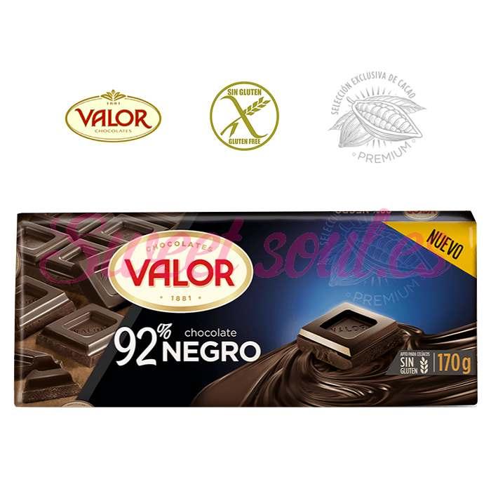 TABLETA CHOCOLATE VALOR 92% NEGRO, 170g