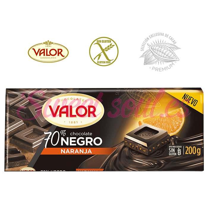 TABLETA CHOCOLATE VALOR 70%NEGRO, 200g