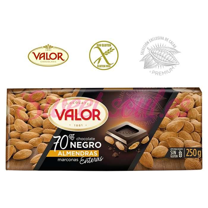 CHOCOLATE 70%NEGRO VALOR Y ALMENDRAS ENTERAS, 250g