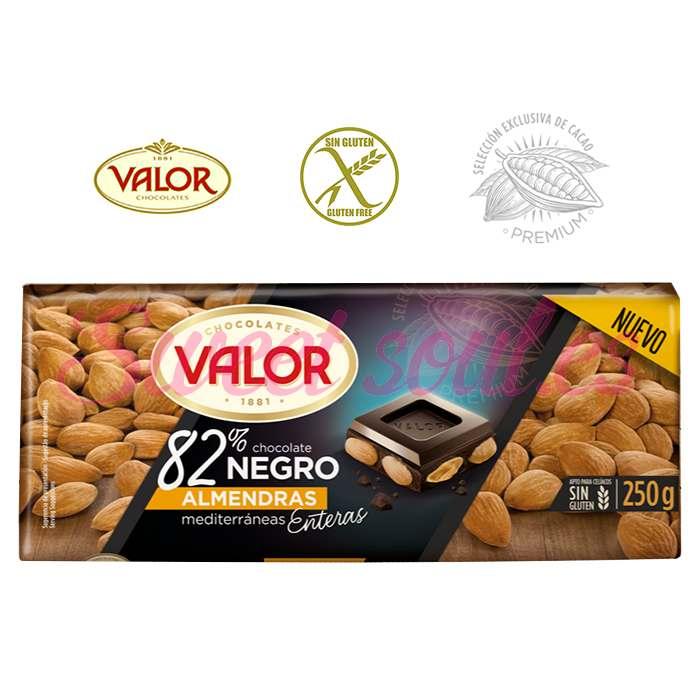 CHOCOLATE 82%NEGRO VALOR Y ALMENDRAS ENTERAS, 250g