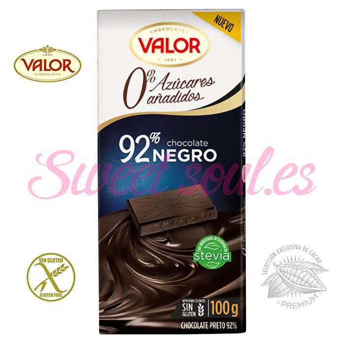 TABLETA CHOCOLATE VALOR 92%NEGRO CON STEVIA, 100g