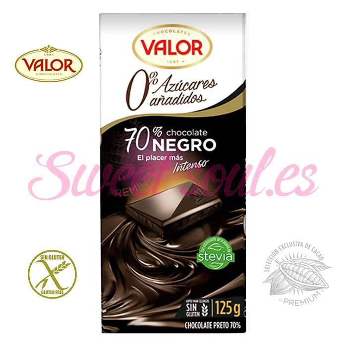 TABLETA CHOCOLATE VALOR 70%NEGRO CON STEVIA, 125g