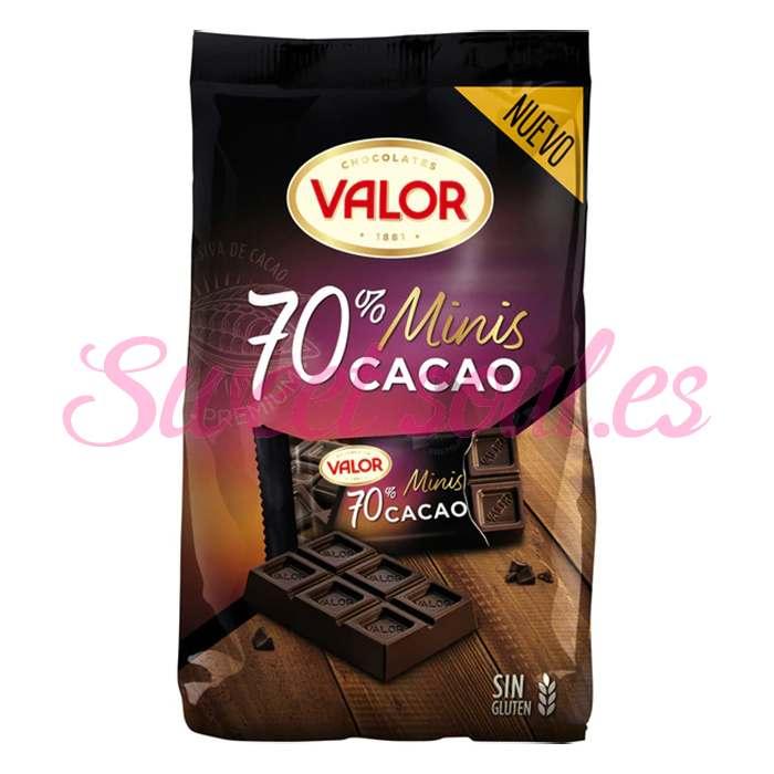MINI TABLETAS CHOCOLATE NEGRO 70% VALOR 200g