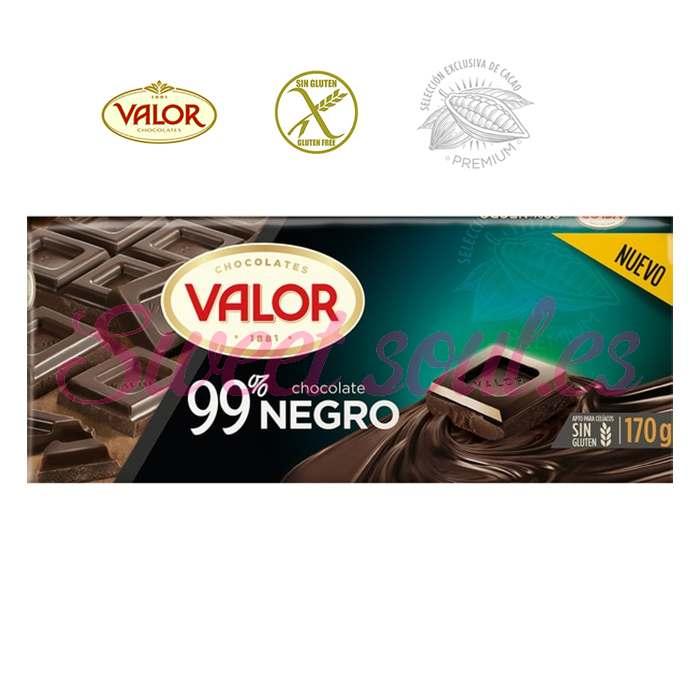 TABLETA VALOR 99% CHOCOLATE NEGRO 170gr.