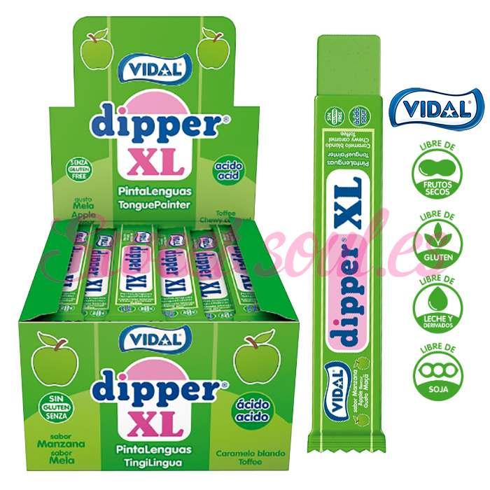 CAJA DE DIPPER XL SABOR MANZANA VIDAL, 100UNDS